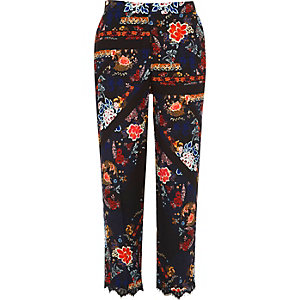 Black lace hem floral print trousers