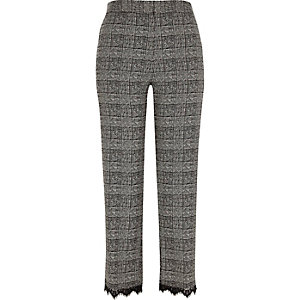 Grey check lace trim pants
