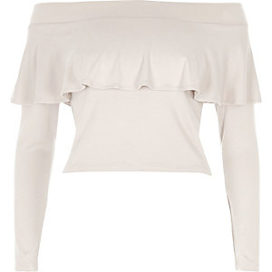 Grey deep frill bardot top
