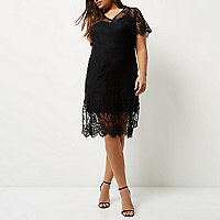 Plus black layered lace dress