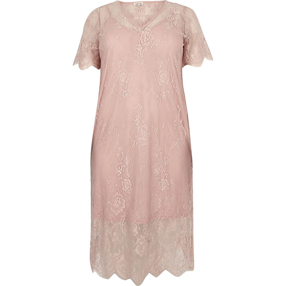 dc23846fbeb Plus light pink lace dress - Swing Dresses - Dresses - women
