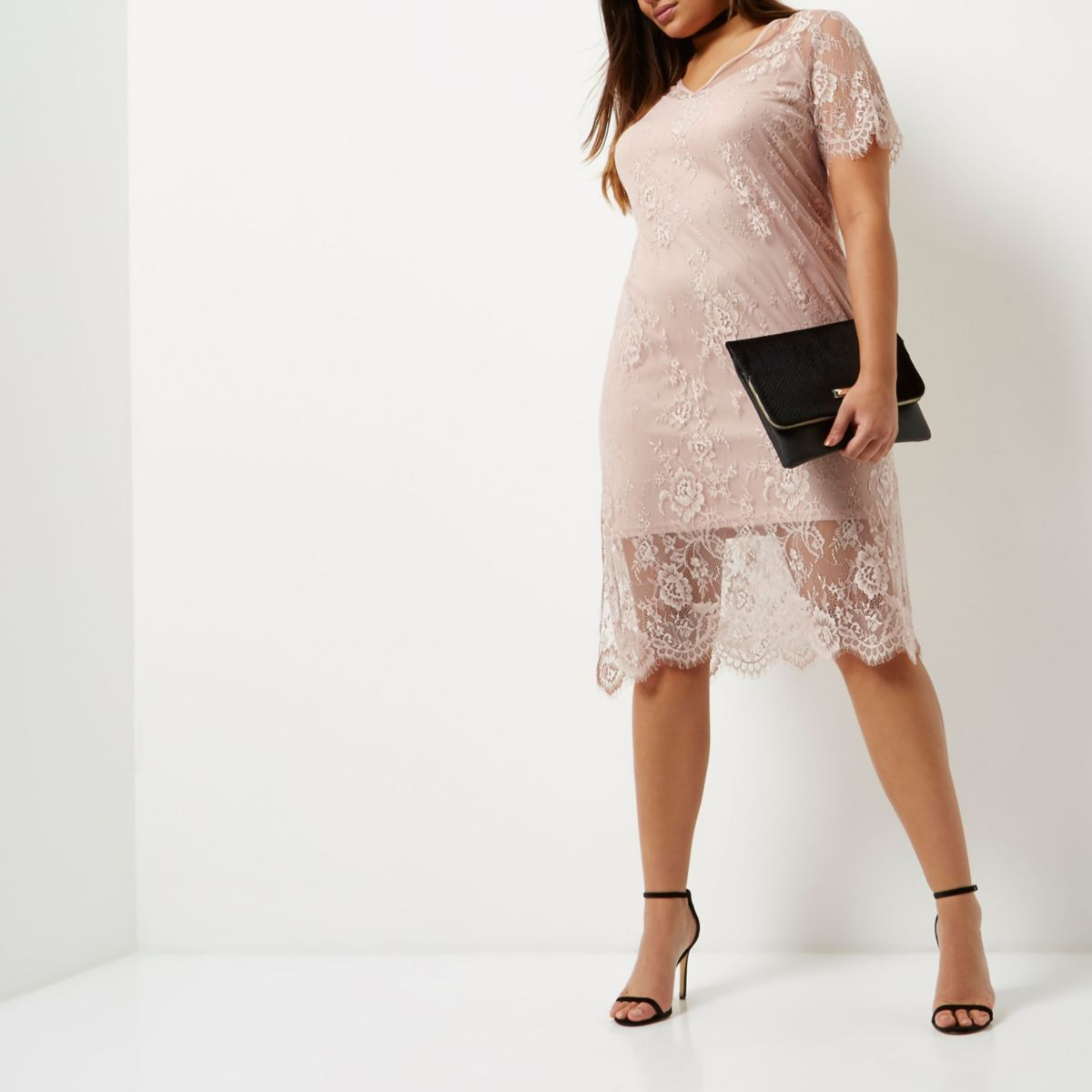 Plus light pink lace dress