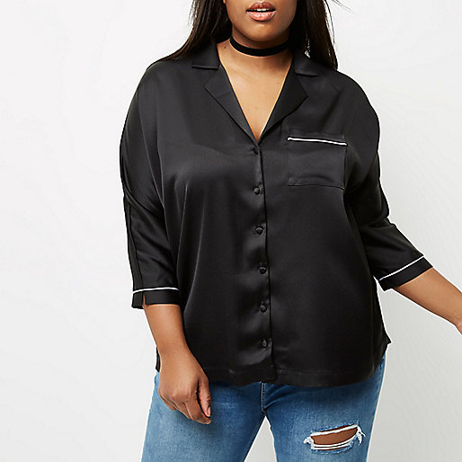 Plus black satin shirt
