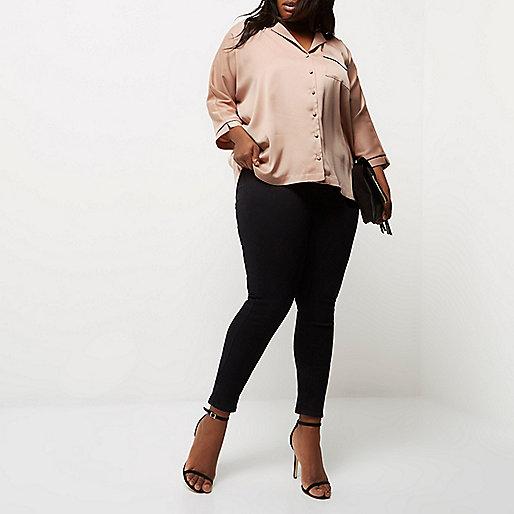 Plus blush pink satin shirt