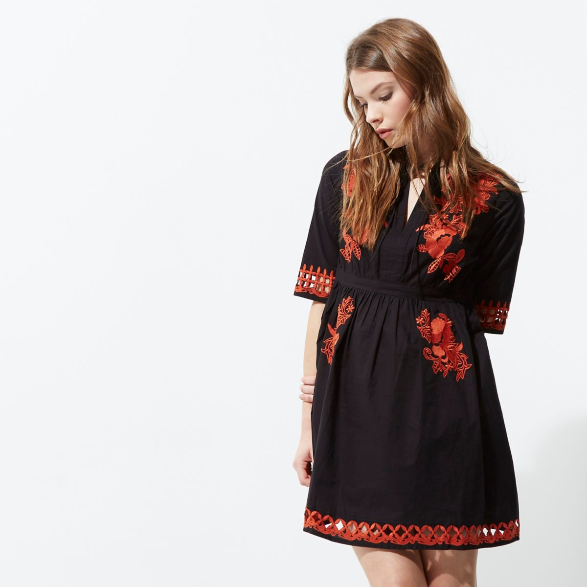 Black and red embroidered smock dress