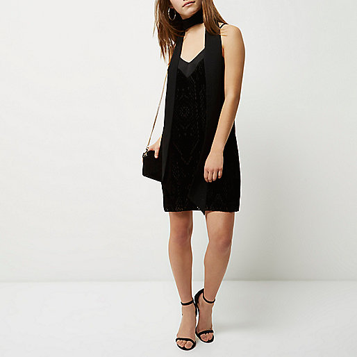 Petite black burnout velvet slip dress