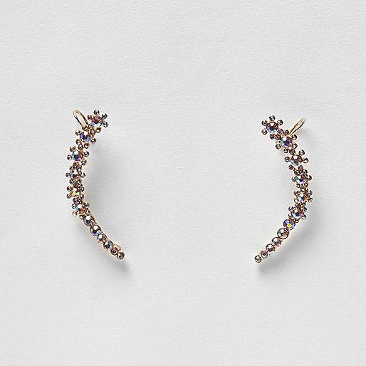 Gold tone AB effect stone cuff earrings