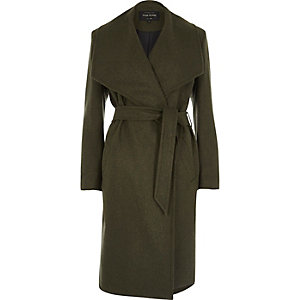 Khaki green robe coat