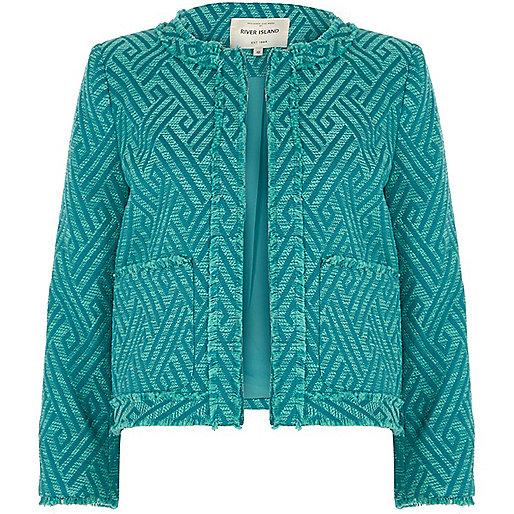 Veste verte motif zigzags à franges