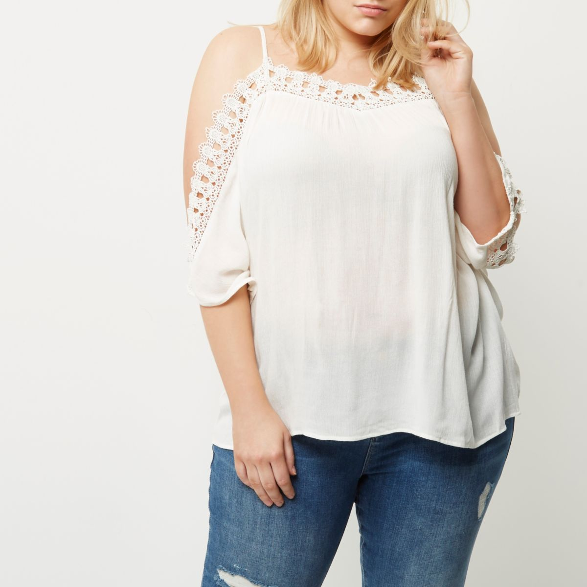 Plus white crochet cold shoulder top