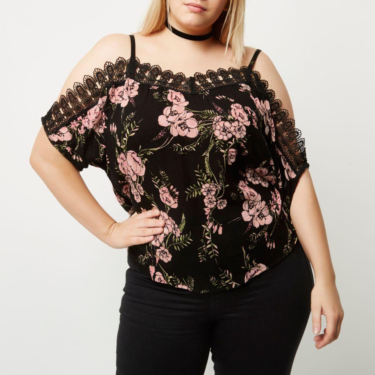 Plus black floral crochet cold shoulder top