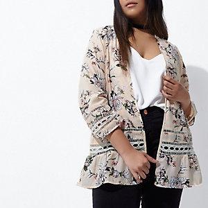 Plus cream floral print lace trim kimono