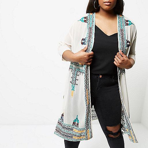Plus cream embroidered kimono