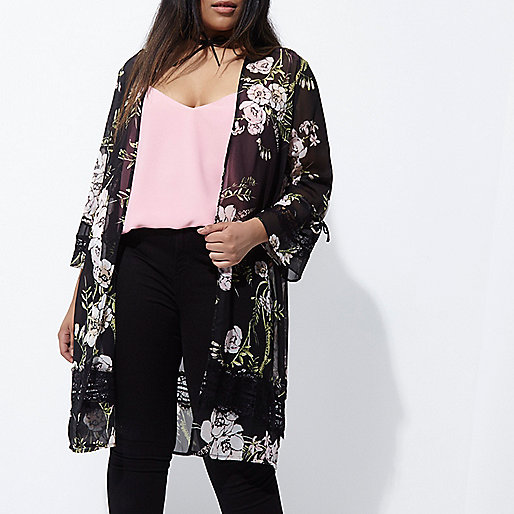 Plus black floral print lace trim duster