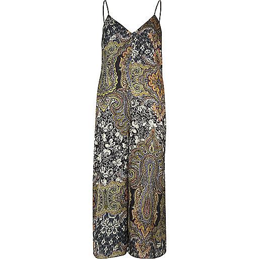 Green paisley print culotte jumpsuit
