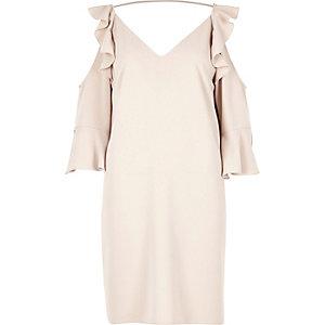 Grey frill cold shoulder swing dress