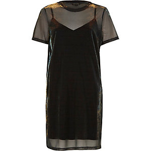 Blue metallic mesh T-shirt dress