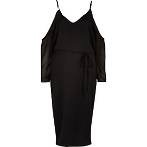 Black cold shoulder midi slip dress