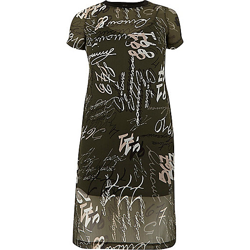 Khaki print mesh T-shirt dress