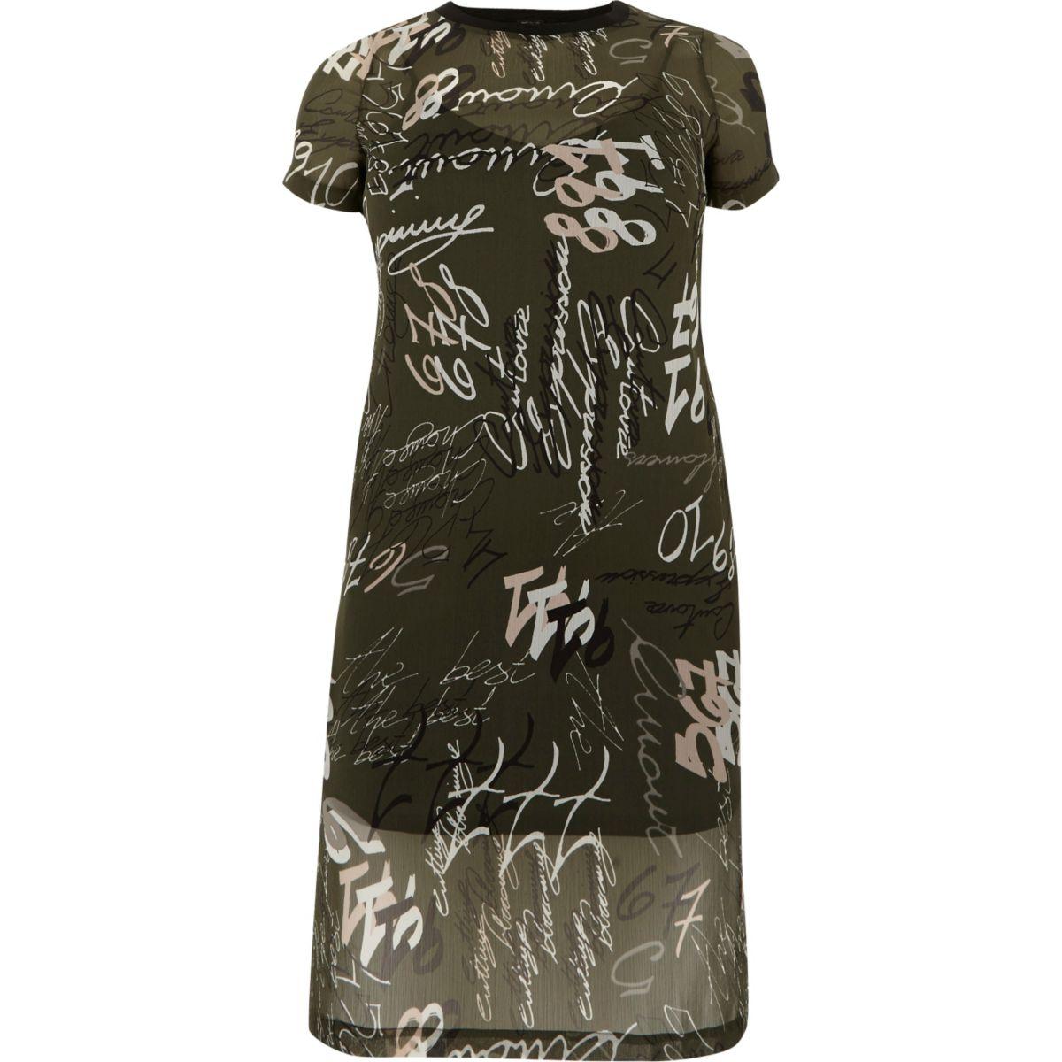 Robe t-shirt en tulle imprimée kaki