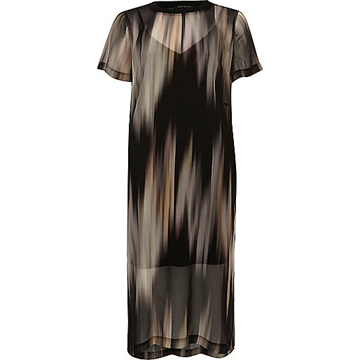 Black print mesh T-shirt dress