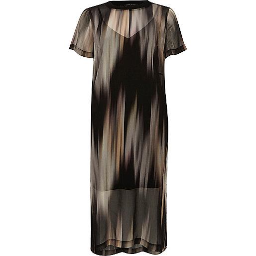 Robe t-shirt en tulle imprimée noire
