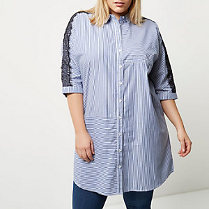 Plus blue stripe lace sleeve shirt dress