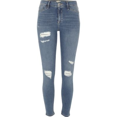 Molly Middenblauwe ripped jegging