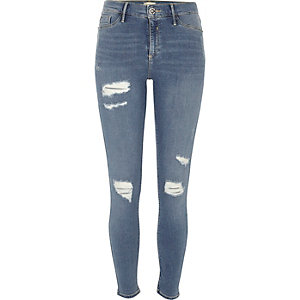 Mid blue ripped Molly jeggings