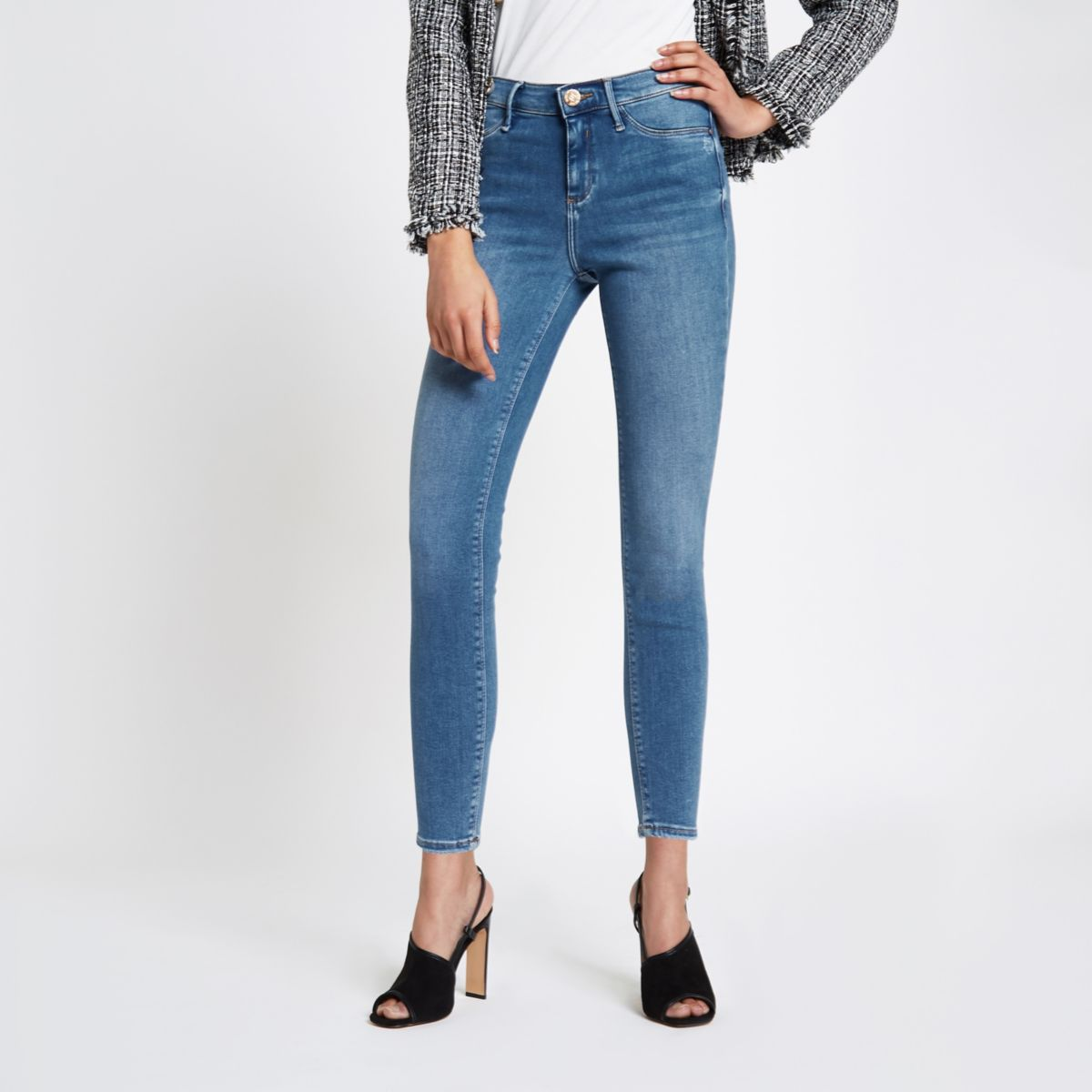 Mid blue Molly skinny fit jeggings