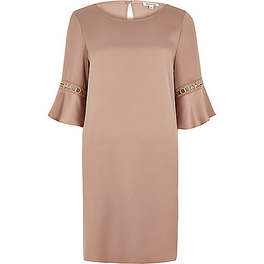 Pink gold trim flared sleeve dress