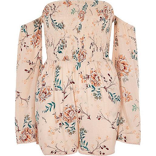 Pink floral print bell sleeve bardot romper