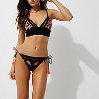 Black floral tie side string bikini bottoms