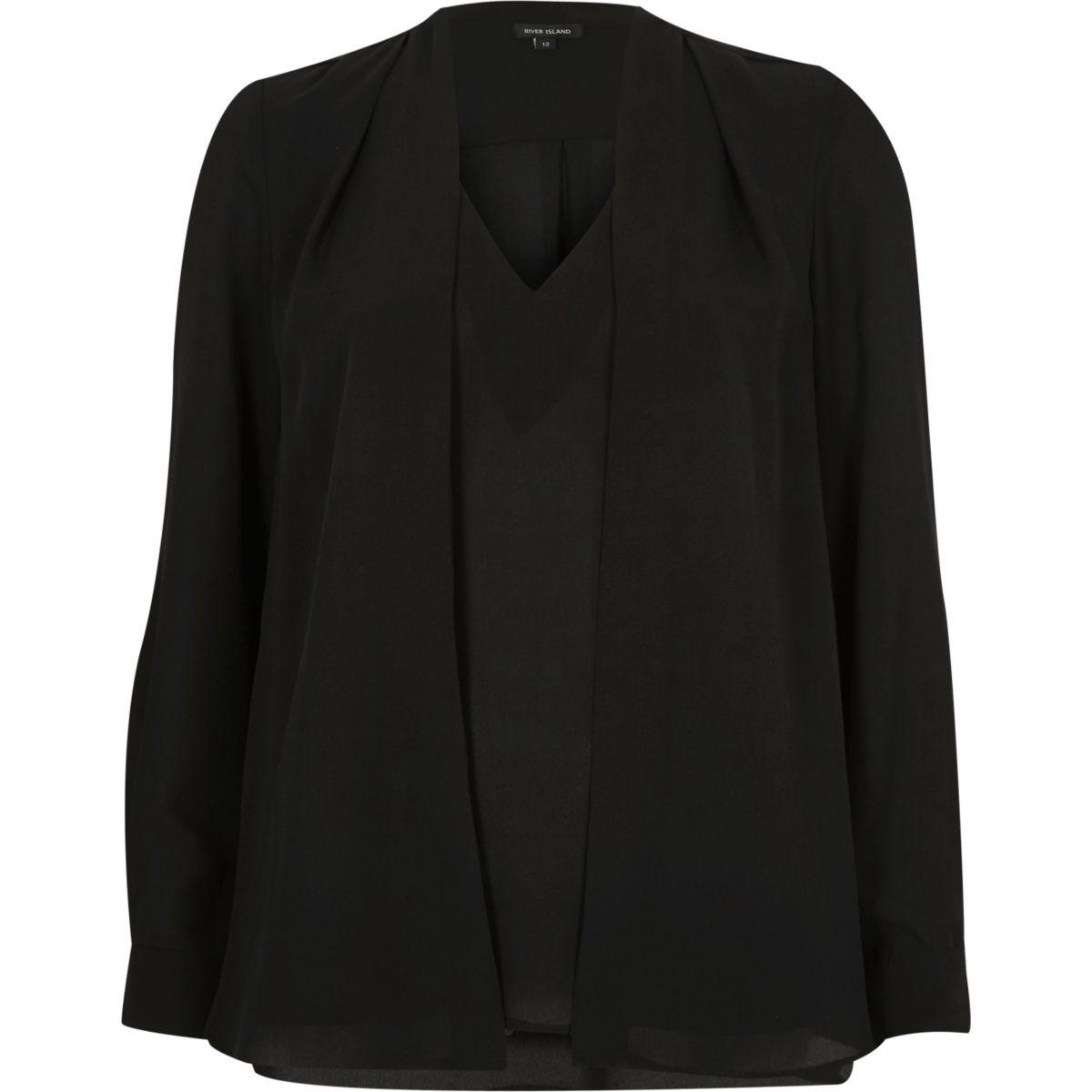 Schwarze 2-in-1-Bluse
