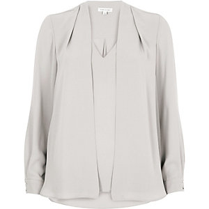 Light grey 2 in 1 blouse