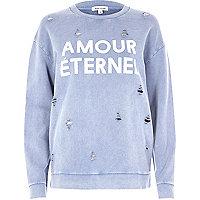 Blue distressed amour print sweatshirt