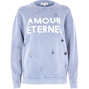 Blauw distressed sweatshirt met amour-print
