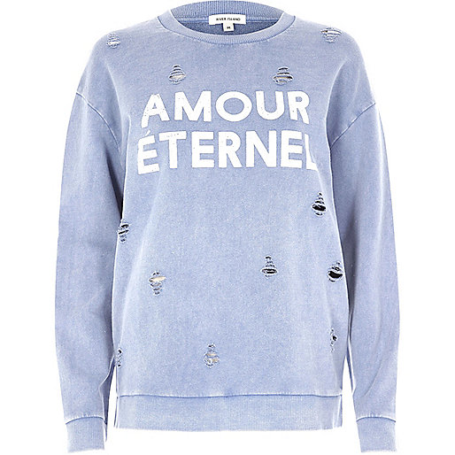Blue distressed amour print sweatshirt