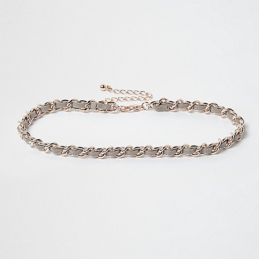 Rose gold weave thread choker necklace