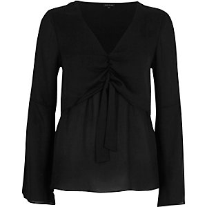 Black layered tie front blouse