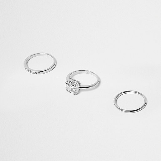 Silver tone eternity rings 3 pack