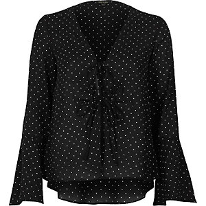 Black polka dot cover-up top