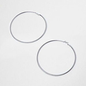 Silver tone flat overszied hoop earrings