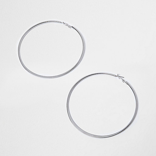 Silver tone flat overszied hoop earrings