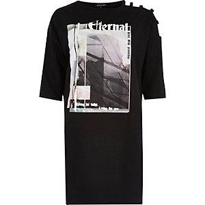 Black print strappy sleeve oversized T-shirt