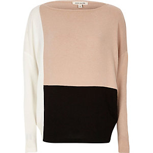 Blush pink colour block batwing jumper