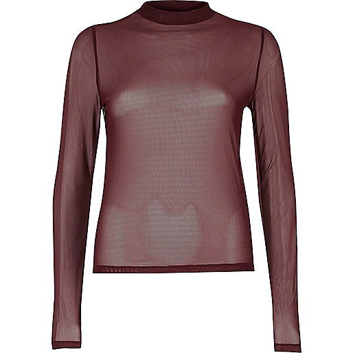 Dark red sheer mesh top