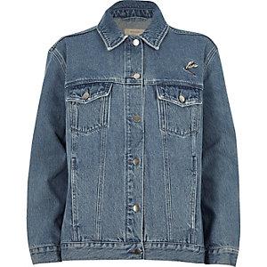 Veste en jean bleue brodée à délavage authentique