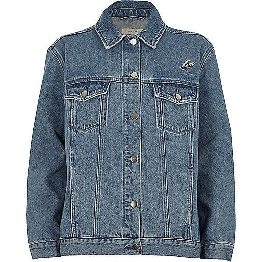 Blue authentic wash embroidered denim jacket