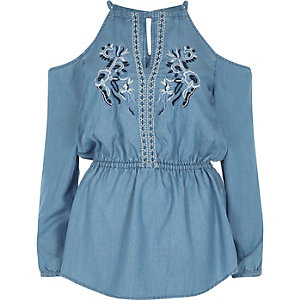 Blue denim embroidered cold shoulder top